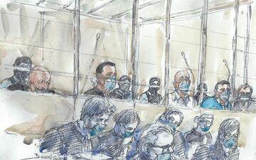 Les 14 accusés des attentats de janvier 2015 le 2 septembre, au premier jour du procès.