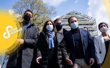 Yannick Jadot (EELV), Anne Hidalgo et Olivier Faure (PS), Benoît Hamon (Génération.s) et Sandrine Rousseau (EELV) à la réunion du 17 avril à Paris. AFP/Thomas Samson