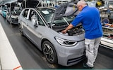 A worker assembles VW ID.3 electric cars at the Volkswagen factory in Zwickau, Germany