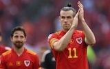 Gareth Bale applauds the fans after Wales' 4-0 defeat to Denmark in Amsterdam