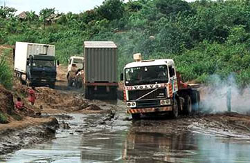 Trucks on road in West Africa