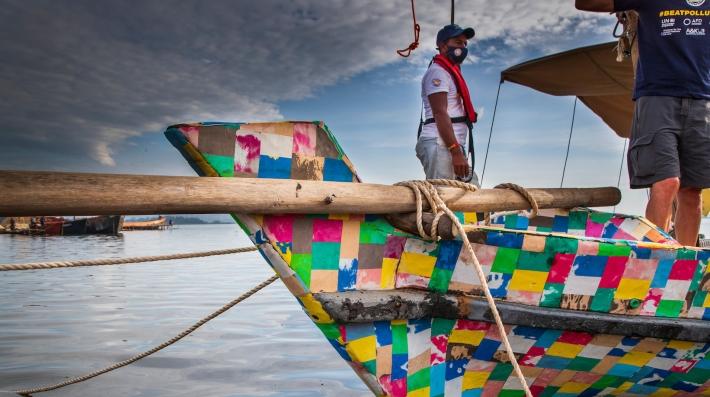 The Flipflopi dhow docked in Uganda.