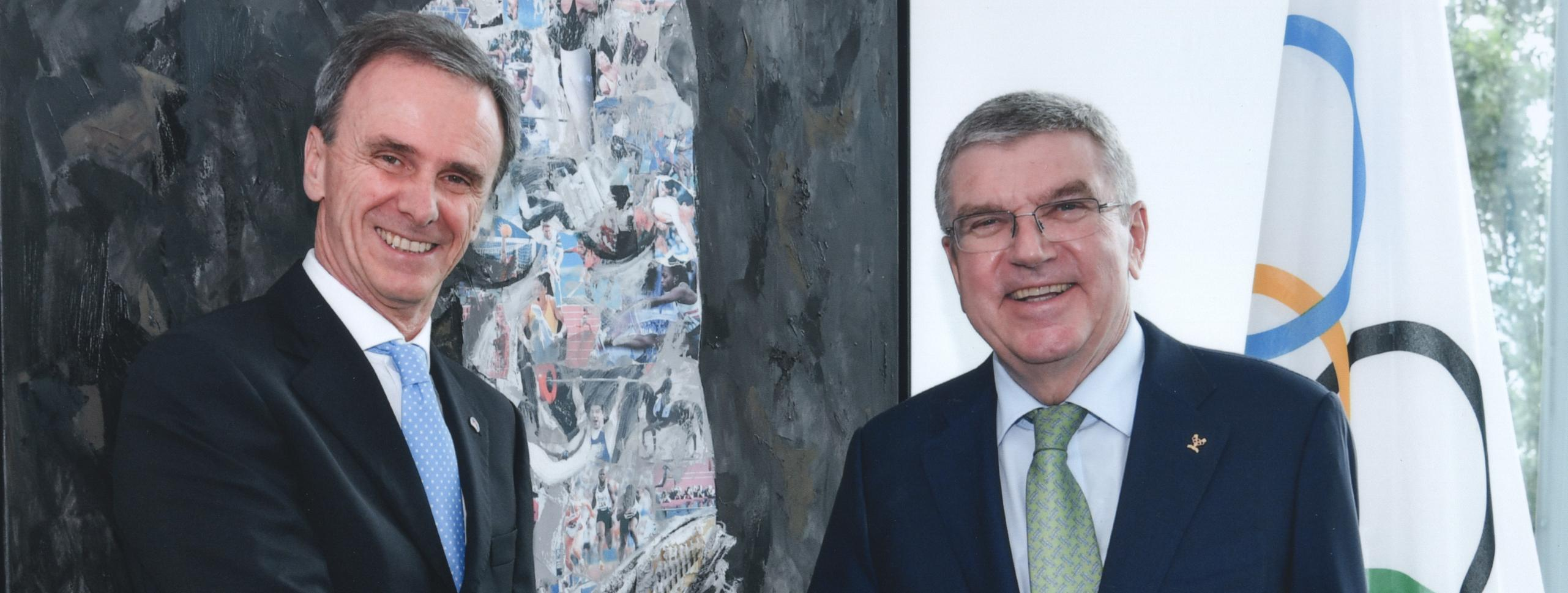 IFSC PRESIDENT MARCO SCOLARIS CONGRATULATES THOMAS BACH ON BEING RE-ELECTED IOC PRESIDENT