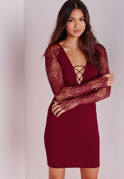 Long sleeve lace up bodycon dress