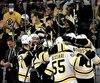 Les joueurs des Bruins ont affiché leur joie dans les derniers instants de la rencontre.