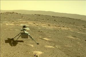 Il drone Ingenuity sulla superficie di Marte (fonte: NASA/JPL-Caltech) (ANSA)