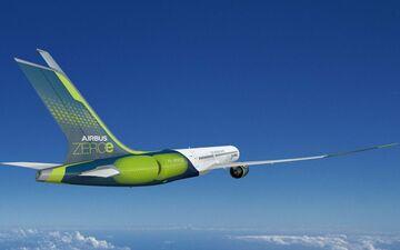 Image de synthèse du projet d'avion Airbus zéro émission. AIRBUS SAS 2020